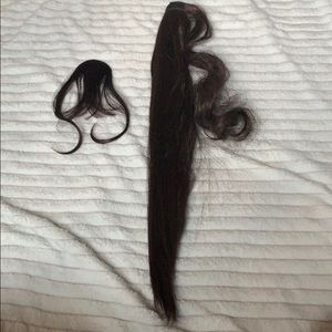 False pony tail extension with bangs
